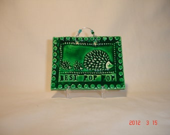 Green Best Pop-pop hedgehog Tile