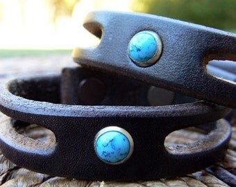 Lil Trinity Turquoise Leather Bracelet | Native American Wrist Band Cuff | Men's Women's Boho Stacking Bracelet | African Tribal Jewelry