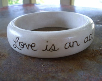 Love is an Act of Faith Painted Wood Bangle