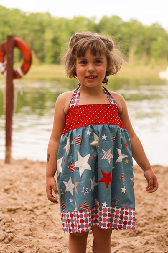 4th of July Patriotic Red White Blue Halter Dress