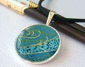 Japanese Chiyogami Bezel Pendant Necklace - Blue Waves