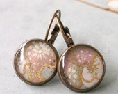 Japanese Earrings Chiyogami Leverback Antique Brass - Vintage Sakura