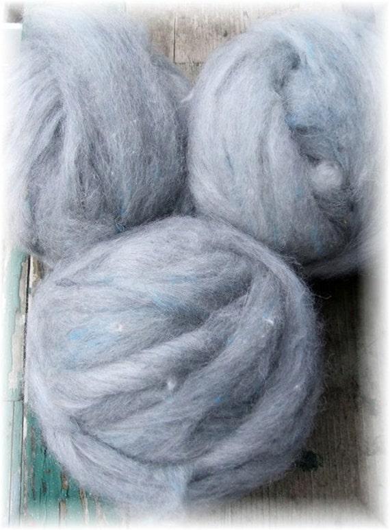 Alpaca Merino Wool and Tussah Silk Roving Spinning or  Felting Fiber  MONDAY BLUES I    2 oz