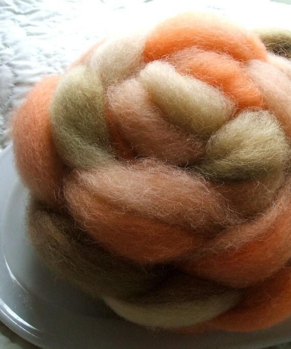 American Romney Wool Roving 5 oz Kettle Dyed for Spinning or Weaving MANDARIN