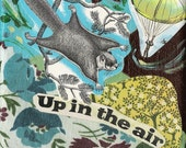 Flying Squirrel Parachute Collage Print -Vintage Urban Girl