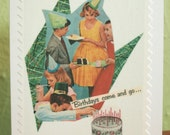 Birthdays Come and Go - Greeting Card - Vintage Urban Girl - Telling Stories Series - Handmade