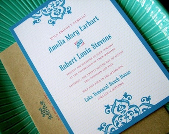 Fiesta AZUL Mexican inspired Invitations, customized invitations, spanish invites, fiesta invite, mexican wedding, taco party invite, quirky