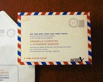 Carte Postale Travel Inspired Vintage Invitations, adventure weddings, travel theme, travel party, bon voyage party, vintage postcard invite