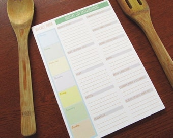 The Grocer - set of 12 Large Weekly Menu and Grocery List Cards