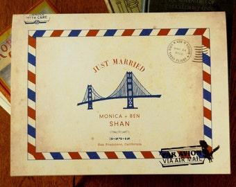 LOVE SALE Carte Postale Vintage Inspired Airmail Wedding Guest Book