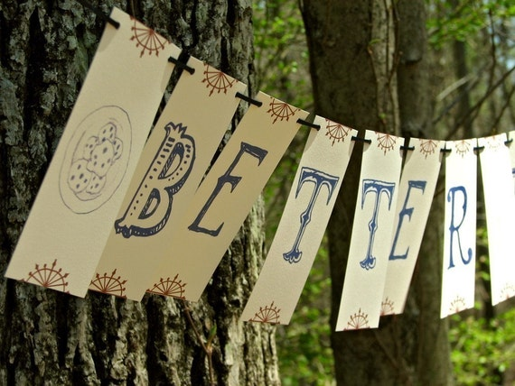 Better Together Paper Garland Party Banner, Sweet and unique wedding decoration, great for indie receptions