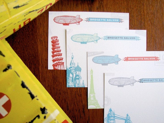 12 Zeppelin Personalized Note Set Great Cards for the Adventure Lovin traveler