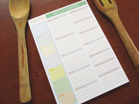 LOVE SALE The Grocer - set of 12 Large Weekly Menu and Grocery List Cards
