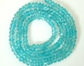 7 Inch of AAA Apatite Neon Blue Green Faceted Rondelle  4 x 3mm to 2mm
