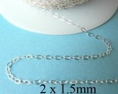 100 ft - Sterling Siver Flat Cable Chain  2 x 1.5mm