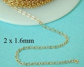 100 ft - 14k Gold Filled Flat Cable Chain  2 x 1.6mm