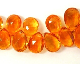6 Pcs of Citrine Pear Briolette  7 x 5mm