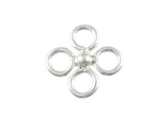 4 pcs - 10mm Bali Sterling Silver Connector   1.4 x 10mm