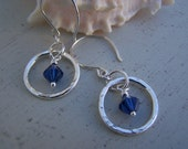 Hammered Circle Earrings with Blue Crystals