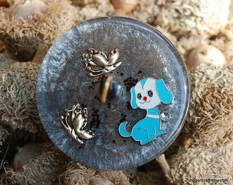 Playful Puppy Resin Drop Spindle - Top Whorl