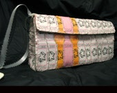 White \/ Light Pink \/ orange  Star Raffle Ticket Wristlet- Clutch Purse
