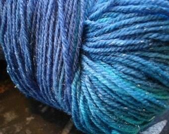 Castiel -- Superwash Merino Sock Yarn with Silvery Sparkles