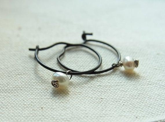 Black Antiqued Brass Hoop Ear-rings with Petite Off-white Freshwater Pearls (One Pair)