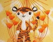 Little Tiger's Orangey Celebration, cute original hand embroidery pattern design PDF