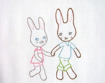 Bunnies, Hand in Hand - Embroidery Pattern PDF