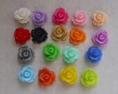 18 resin flower cabochons