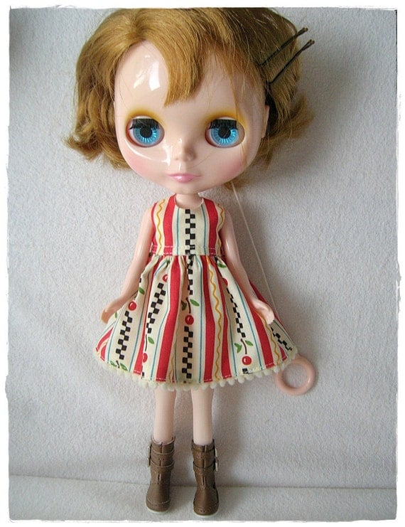 Cherry Stripes Dress for Blythe