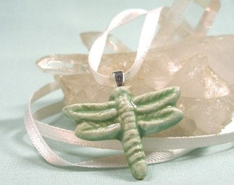 Small Dragonfly Pendant in Seagreen