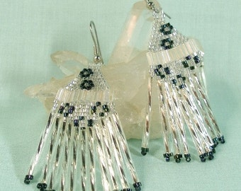 Black and White Fringe Earrings