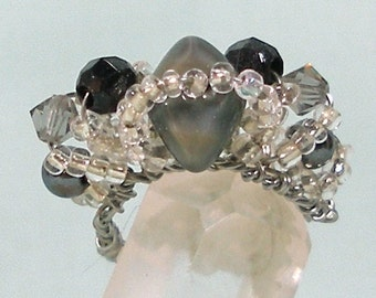 Miniature Crown in Black and Silver for Dollhouse Doll Fairy or Fashion Doll