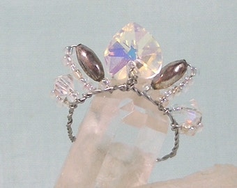 Iridescent Heart and Silver Crown in Miniature for small doll or fashion doll