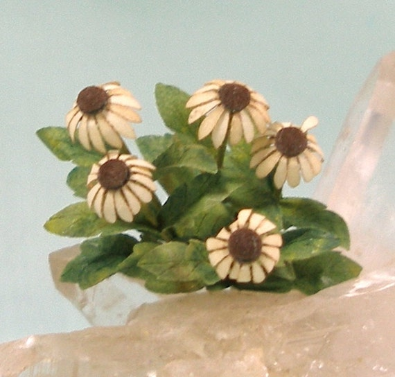 Miniature Cream Coneflower in Dollhouse Scale