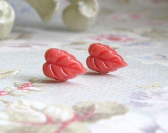 Coral Colored Leaf Post Earring Stud Earrings Silver Plated Posts Nature Inspired Woman Girl Gift for Her
