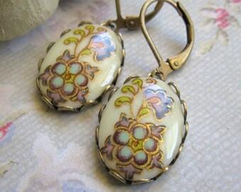 Vintage Floral Cabochon Dangle Earrings Antiqued Brass Art Nouveau Purple Turquoise Gold Accent Floral Design Gift for Her Under 20