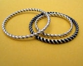 twisted wire sterling silver stacking ring nautical rope