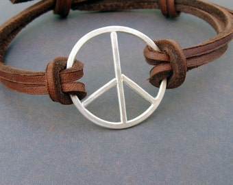 Peace Sign bracelet. Sterling silver and leather bracelet for men or women - Peace, Baby