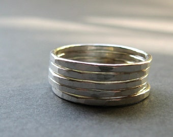 five sterling silver stacking rings. stack of rings. hammered rings. five rings 5 stacking rings
