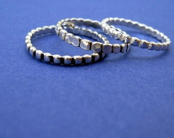 sterling silver stacking ring. beaded wire.  Spotty -