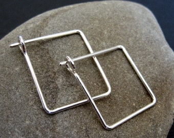 square sterling silver hoops, 18ga, 3/4 inch square