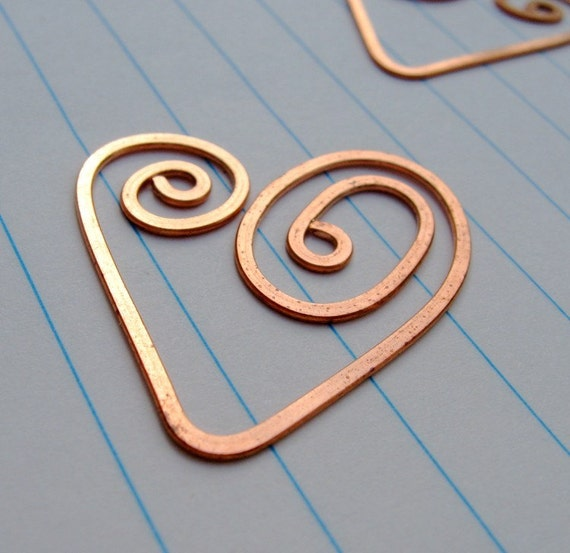 Bookmark- copper wire Heart or Doodle, set of TWO
