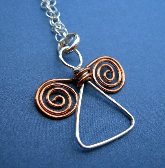 Handmade Angel pendant - silver and copper wire by VisionQuest