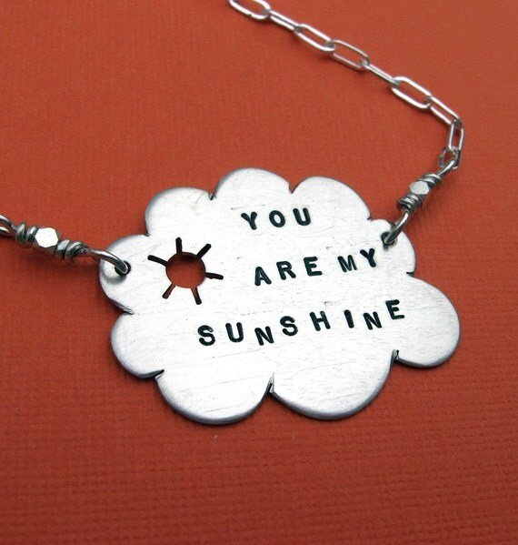 You Are My Sunshine..  sterling silver sun and cloud necklace