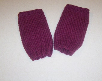 Hand Knit Soft Raspberry Fingerless Mitten Gloves