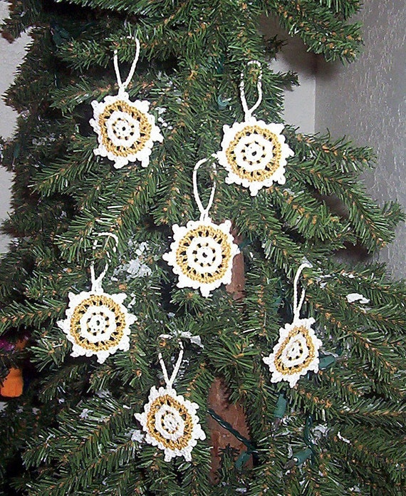 Set of 6 Hand Crochet White with Gold Snowflakes