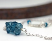 Blue Topaz Necklace .  Sterling Silver Oxidized Chain . Rustic . Natural . Perfect for your blue jean girl