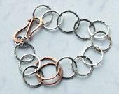 Silver Bracelet - Mixed Metal - EcoFriendly Sterling Silver with Copper accents - Best Friends - Sister bracelet - Lover - Charm bracelet